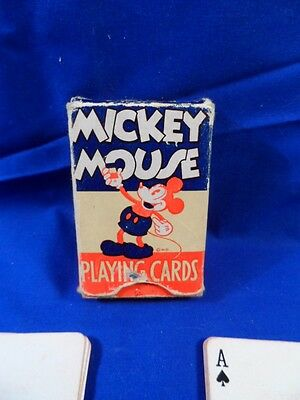Vintage Disney Mickey Mouse Playing Cards Small Deck in Box Complete RARE!