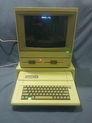 Apple IIe Computer - Restored - Color Monitor, Stand, Dual Disk Drive, Software