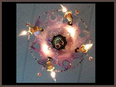 Italian Murano Ceiling Light Fixture Chandelier Pink/Lavender  Crystals 6 light