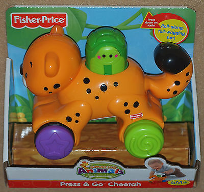 Fisher Price Amazing Animals 2008 PRESS & GO CHEETAH Rolls, Tail Swings Age 6M+