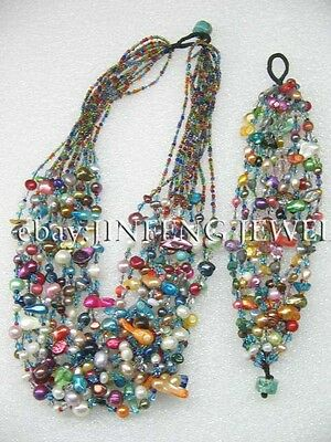 12strands Multi-colored mix style freshwater pearl sets necklace & bracelet