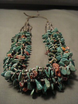 208 GRAMS NATURAL GREEN TURQUOISE SPINY OYSTER NECKLACE-wow