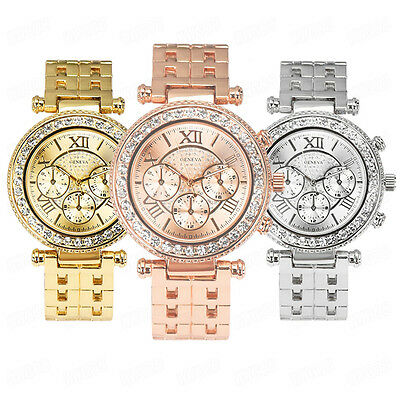Luxury Womens Watch Stainless Steel Crystal Dial Date Analog Quartz WristWatches
