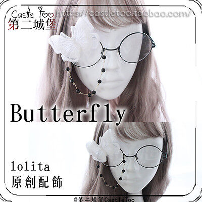 Japanese Vintage Gothic Lolita Cosplay Butterfly Bead Chain Glasses Accessories