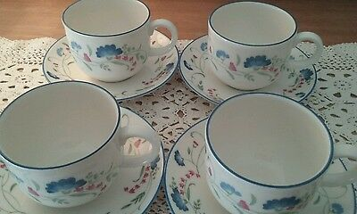 """Royal Doulton Expressions """"Windermere"""" Cups & Saucers Set of Four"""