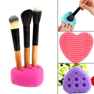 Pro Silicone Makeup Brush Cleaner Cleaning Cosmetic Scrubber Board Mat Pad Tools