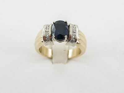 14 k Yellow White Gold Sapphire And Diamond Ring Size 6 1/2