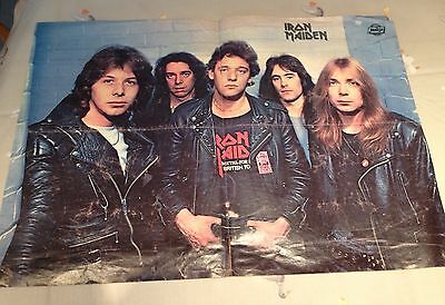 Iron Maiden Vintage Rock poster . Rare Early Line Up , Jackie Magazine