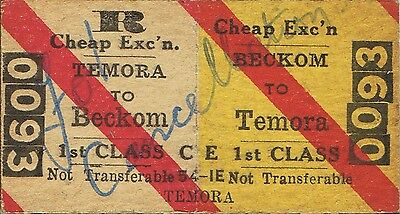 Railway ticket a trip from Beckon to Temora by the old NSWGR