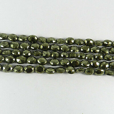 1 Strand 37 pcs 7x9mm Pyrite oval facet Gemstone Beads Necklace Jewelry ER2817