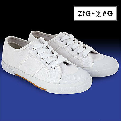 Zig-Zag White Lace Up Canvas Shoes - Women's 6