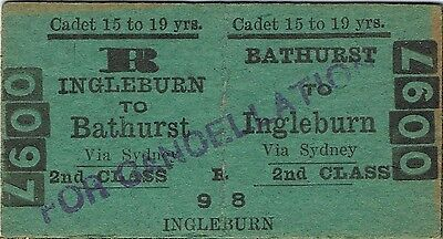 Railway ticket a trip from Bathurst to Ingleburn by the old NSWGR for a cadet
