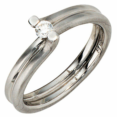 Ladies Ring with Diamond 0,11 Ct 950 Platinum matte Platinum Ring