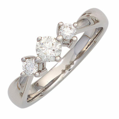 Ladies Ring 3 Diamonds Brilliants 0,50 Ct 585 Gold White Gold Three stone-ring