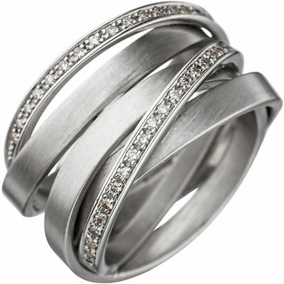 Wide Ladies Ring with 47 Diamonds Brilliants, 585 Gold White Gold matte
