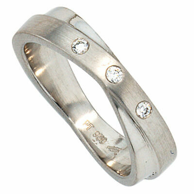 ring women's from 950 Platinum matte with 3 Diamonds Brilliants