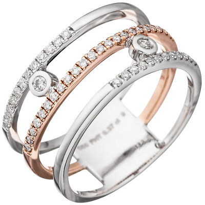 Wide Ladies Ring 3 rows with 49 Diamonds, 585 gold White gold Rose gold