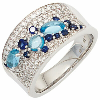Ladies Ring with 12 Sapphire & 3 Blue topaz & 81 Diamonds, 585 Gold White Gold