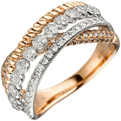 Ladies Ring with 181 Diamonds Brilliants 1,00 Ct 585 Gold Rose Gold Finger Ring