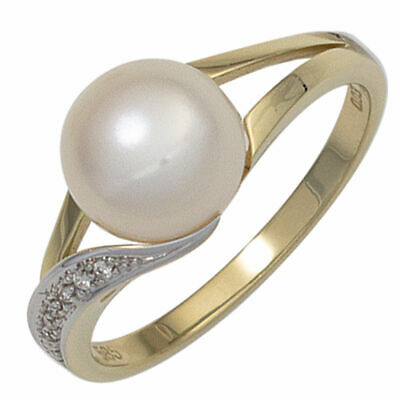 Ladies Ring with Freshwater Pearls white & 6 Diamonds, 585 Gold Yellow Gold