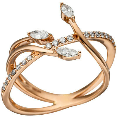 Ladies Ring with 22 Diamonds Brilliants, 585 Gold Rose Gold Diamond Ring