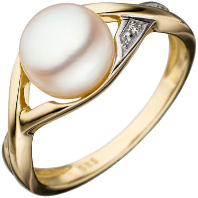 Ladies Ring with pearl Cultivated Freshwater white 585 Gold Yellow bicolour