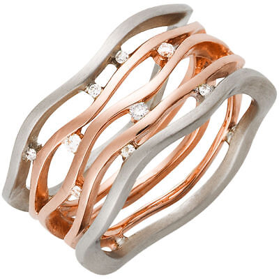 Wide Ladies Ring with 9 Diamonds Brilliants, 585 gold Rose gold White gold