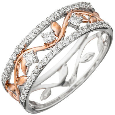 Ladies Ring with 45 Diamonds Brilliants, 585 gold White gold gold plated