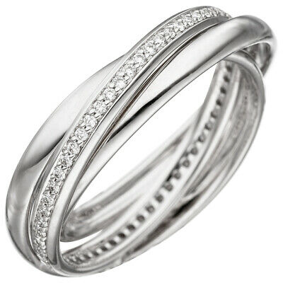 3x Ladies Ring with 58 Diamonds Brilliants round, 585 gold White gold