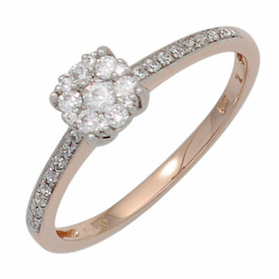 Ladies Ring with 29 Diamonds Brilliants 585 gold Rose White