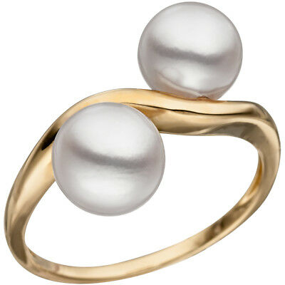 Ladies Ring with 2 Akoya Pearls white, 585 Gold Yellow Gold Pearl ring Gold ring