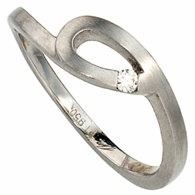 Ladies Ring 950 Platinum matte with Diamond Platinum Ring with loop