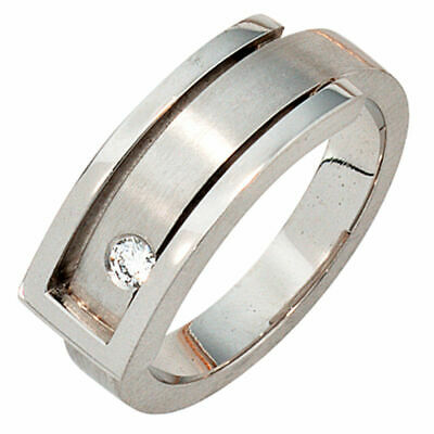 Ladies Ring with Diamond 0,10ct, 950 Platinum matte Finger Ring