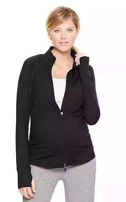 Gap Fit Maternity Workout Track Jacket Black Large