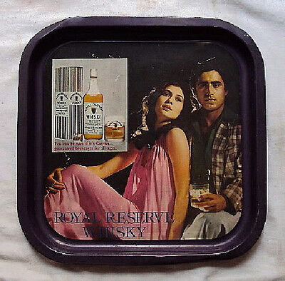 1970s RARE VINTAGE TIN ADVERTISEMENT TRAY ROYAL RESERVE WHISKY COLLECTOR'S ITEM