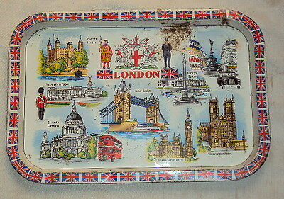 1970 Old Rare Vintage Tin Advertisement Tray With London Beautiful Litho Images