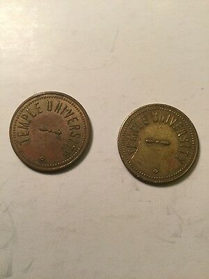 Two Old Temple University Philadelphia Parking Tokens Nice Pieces To Collect