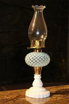 """Antique Light Blue Two Tone Opalescent Glass Finger Oil Lamp. Approx 19"""""""