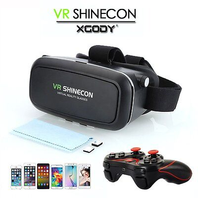 VR SHINECON Virtual Reality BOX 3D Glasses+Bluetooth Controller For Android IOS