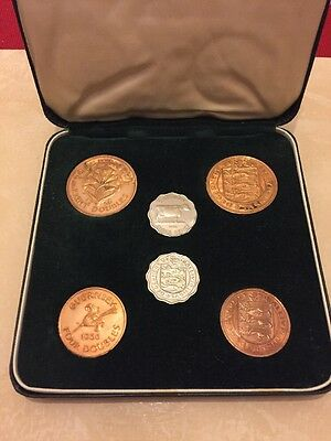GUERNSEY 1956 6 COIN DOUBLE PROOF YEAR SET - boxed - mintage 1050
