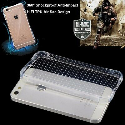 Air Sac Shockproof Anti-impact Crystal Clear TPU Gel iPhone 5/5S Back Case Cover