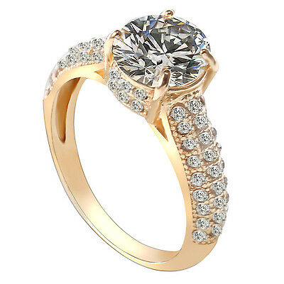 Best 18K Gold Diamond Rings For Women Wedding Engagement Crystal Jewelry Gift