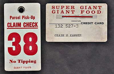 USA 1950'S - 1960'S - SUPER GIANT FOOD 2 Plastic CARDS