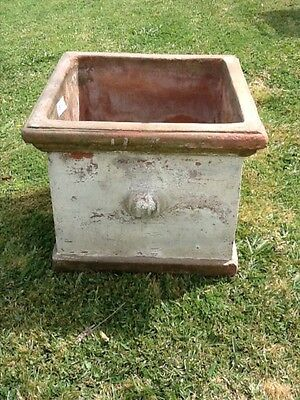 Large terracotta square garden plant pot