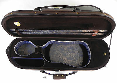 Rounded Brown Violin Case -Exterior made of Suede - High quality Velvet interior
