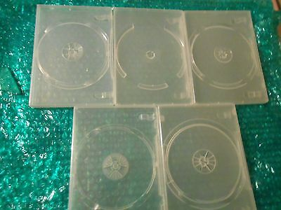 DVD / CD Replacement Cases - Std 14ml Jewel Cases Set of 5 Silver / Clear Cases