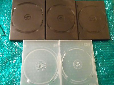 DVD / CD Replacement Cases - Std 14ml Jewel Cases Set of 5 Silver & Black Cases