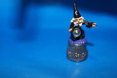 Merlin the Wizard with crystal ball hand painted novel pewter thimble