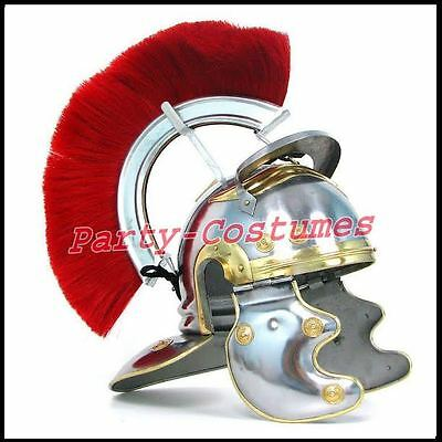 Medieval Roman Centurion Helmet Armor w/ Red Crest Plume Gladiator Costume As&bb
