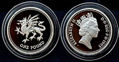 1 pound 1995. WELSH DRAGON SILVER PROOF UK ROYAL ARMS COIN IN FREE CAPSULE.